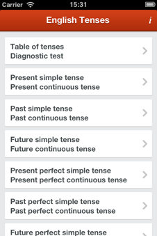 iPhone app to learn English grammar tenses